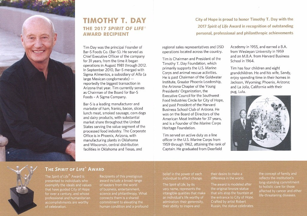 """CITY OF HOPE """"SPIRIT OF LIFE"""" AWARD : Timothy T  Day Foundation"""